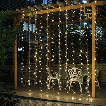 SALCAR LED Lichtervorhang 3x3m IP44 Vorhang Lichterkette, Lichtervorhang für Weihnachten, Partydekoration, Innenbeleuchtung, 8 Lichtprogramme (warmweiß) - 1