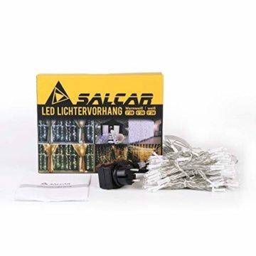 SALCAR LED Lichtervorhang 3x3m IP44 Vorhang Lichterkette, Lichtervorhang für Weihnachten, Partydekoration, Innenbeleuchtung, 8 Lichtprogramme (warmweiß) - 6