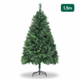 SALCAR Weihnachtsbaum künstlich 150cm mit 408 Spitzen, Tannenbaum künstlich Schnellaufbau inkl. Christbaum-Ständer, Weihnachtsdeko - grün 1,5m - 1