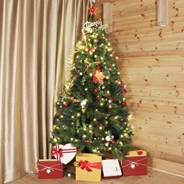 SALCAR Weihnachtsbaum künstlich 150cm mit 408 Spitzen, Tannenbaum künstlich Schnellaufbau inkl. Christbaum-Ständer, Weihnachtsdeko - grün 1,5m - 4