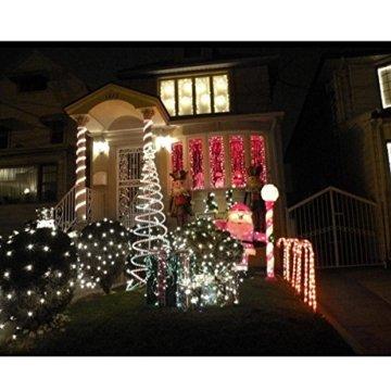 Samoleus 12M 100 LED Lichtschlauch Solar, Wasserdicht IP65 Solar Lichterkette Außen, weihnachtsbeleuchtung Aussen für Party und Weihnachten (Weiß) - 3