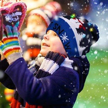 SATINIOR 3 Stücke Weihnachten LED Licht Hüte Weihnachten Beanie Hat LED Pom Pom Weihnachtsmütze für Weihnachtsfeier - 2