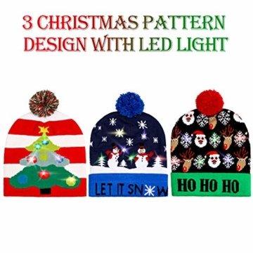 SATINIOR 3 Stücke Weihnachten LED Licht Hüte Weihnachten Beanie Hat LED Pom Pom Weihnachtsmütze für Weihnachtsfeier - 3