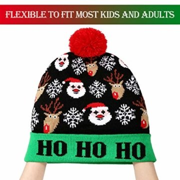 SATINIOR 3 Stücke Weihnachten LED Licht Hüte Weihnachten Beanie Hat LED Pom Pom Weihnachtsmütze für Weihnachtsfeier - 4