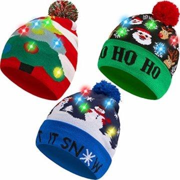 SATINIOR 3 Stücke Weihnachten LED Licht Hüte Weihnachten Beanie Hat LED Pom Pom Weihnachtsmütze für Weihnachtsfeier - 1