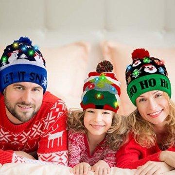 SATINIOR 3 Stücke Weihnachten LED Licht Hüte Weihnachten Beanie Hat LED Pom Pom Weihnachtsmütze für Weihnachtsfeier - 6