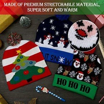 SATINIOR 3 Stücke Weihnachten LED Licht Hüte Weihnachten Beanie Hat LED Pom Pom Weihnachtsmütze für Weihnachtsfeier - 7