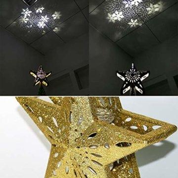 Schimer Baumspitze, Metall Plastik Weihnachtsbaumspitze mit Stern, LEDs beleuchtete Christbaumspitze mit rotierendem magischem kühlem weißem Schneeflocke-Projektor - 4