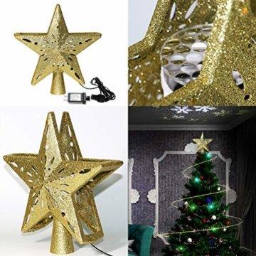 Schimer Baumspitze, Metall Plastik Weihnachtsbaumspitze mit Stern, LEDs beleuchtete Christbaumspitze mit rotierendem magischem kühlem weißem Schneeflocke-Projektor - 5