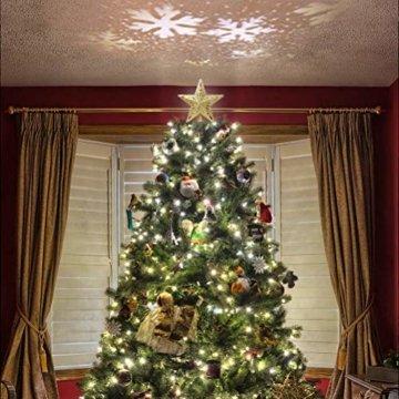 Schimer Baumspitze, Metall Plastik Weihnachtsbaumspitze mit Stern, LEDs beleuchtete Christbaumspitze mit rotierendem magischem kühlem weißem Schneeflocke-Projektor - 6