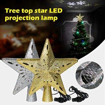 Schimer Baumspitze, Metall Plastik Weihnachtsbaumspitze mit Stern, LEDs beleuchtete Christbaumspitze mit rotierendem magischem kühlem weißem Schneeflocke-Projektor - 7
