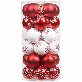 """Sea Team 60mm/2.36"""" Feine dekorative Kleinigkeit mit Gemälde & funkelndem Weihnachtsbaumschmuck als Thema, Christbaumkugel-Set—30 Stück - 1"""