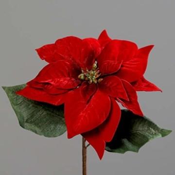 Seidenblumen Roß Samt-Weihnachtsstern 28x22cm rot DP Kunstblumen künstliche Blumen Poinsettie - 1