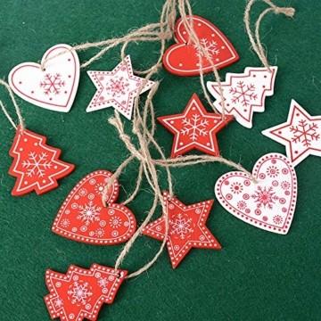 SERWOO 48 Stück Weihnachten Anhänger Holzanhänger Weihnachtsanhänger Dekohänger mit 2Pcs 6 Fächer Aufbewahrungs-Setzbord Weihnachtsbaum Tannenschmuck Christbaumschmuck Weihnachtsdeko Verzierung - 5