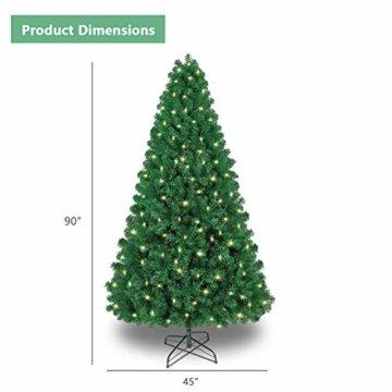 Shareconn Premium Künstlicher Weihnachtsbaum mit Stabilem Ständer mit 1602 Spitzen und 470 Beleuchtung LED, Tannenbaum inkl. Metall Christbaum Ständer 7.5ft - 3