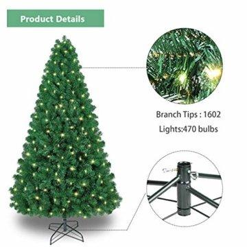 Shareconn Premium Künstlicher Weihnachtsbaum mit Stabilem Ständer mit 1602 Spitzen und 470 Beleuchtung LED, Tannenbaum inkl. Metall Christbaum Ständer 7.5ft - 4