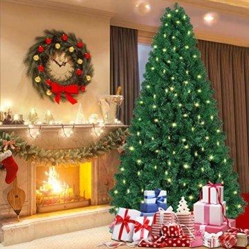 Shareconn Premium Künstlicher Weihnachtsbaum mit Stabilem Ständer mit 1602 Spitzen und 470 Beleuchtung LED, Tannenbaum inkl. Metall Christbaum Ständer 7.5ft - 5