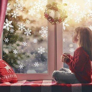 Sinwind 162 Schneeflocken Fensterbild, Fensterbilder Weihnachten Selbstklebend, Winter-deko Weinachts Dekoration, Weihnachten Fenstersticker, Winter Deko Weihnachtsdeko - 3