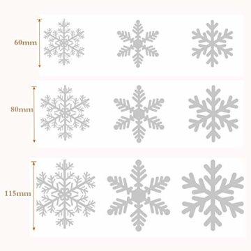 Sinwind 162 Schneeflocken Fensterbild, Fensterbilder Weihnachten Selbstklebend, Winter-deko Weinachts Dekoration, Weihnachten Fenstersticker, Winter Deko Weihnachtsdeko - 5