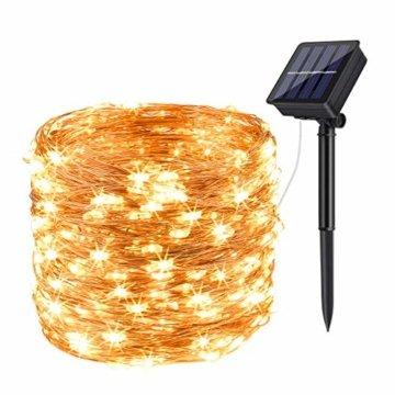 Solar Lichterkette Aussen,DeepDream 20M 200LED Solar Lichterkette Außen Wasserdicht KupferDraht Weihnachtsbeleuchtung für Garten, Balkon,Hof, Hochzeit, Party (Warmweiß) [Energieklasse A+++] - 1