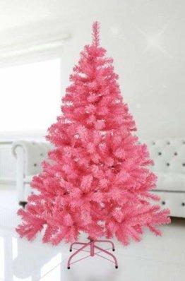 Spetebo Künstlicher Weihnachtsbaum 150cm in rosa - mit Metallständer - 1