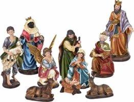 Spetebo Weihnachtskrippe Figuren XXL - 10 Teile - Krippenzubehör Krippe Figur handbemalt - 1