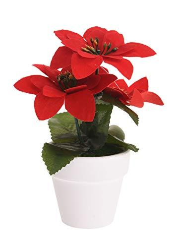 Spetebo Weihnachtsstern künstlich im Topf - 12er Set - Tisch Deko Pflanze künstlich Kunstblume Adventsstern Christstern Poinsettie - 2