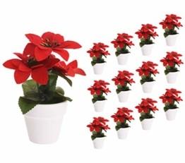 Spetebo Weihnachtsstern künstlich im Topf - 12er Set - Tisch Deko Pflanze künstlich Kunstblume Adventsstern Christstern Poinsettie - 1