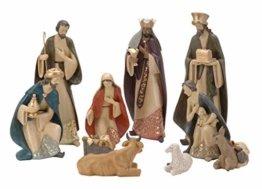 Spetebo XXL Weihnachtskrippe Figuren 35 cm - 10 Krippen Figuren handbemalt - Krippe Zubehör - 1