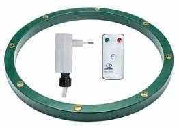 Star-Max Ring für Christbaumständer mit 8 0,5 Watt warmweissen LED, Adapter für den Innenbereich mit Timerfunktion 6/18 Std und Fernbedienung, grün - 1