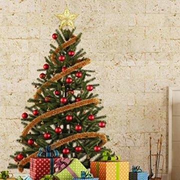 STOBOK Weihnachtsbaum Stern Spitze Christmas Tree Topper 20cm Weihnachtsstern Christbaumspitze Baumschmuck (Gold) - 3