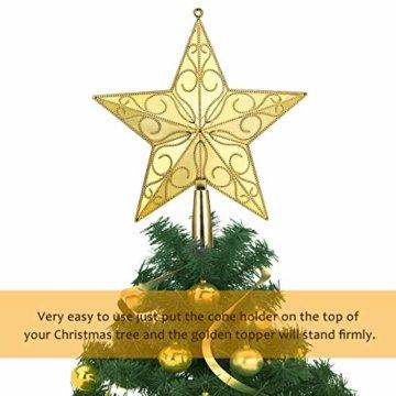 STOBOK Weihnachtsbaum Stern Spitze Christmas Tree Topper 20cm Weihnachtsstern Christbaumspitze Baumschmuck (Gold) - 4