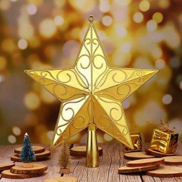 STOBOK Weihnachtsbaum Stern Spitze Christmas Tree Topper 20cm Weihnachtsstern Christbaumspitze Baumschmuck (Gold) - 9