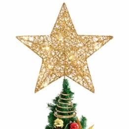 STOBOK Weihnachtsbaum Stern Topper Lichter 25cm Weihnachtsbaumspitze glitzernder baumkronen Lampe Ornament Party Dekoration - 1