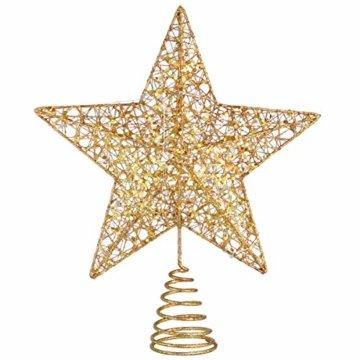 STOBOK Weihnachtsbaum Stern Topper Lichter 25cm Weihnachtsbaumspitze glitzernder baumkronen Lampe Ornament Party Dekoration - 4