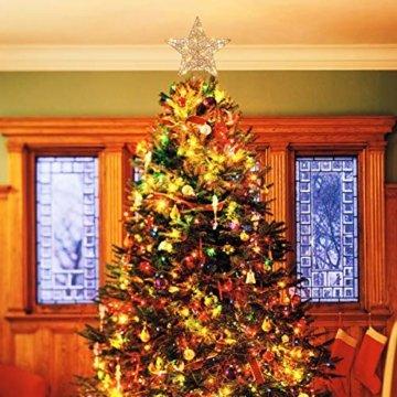 STOBOK Weihnachtsbaum Stern Topper Lichter 25cm Weihnachtsbaumspitze glitzernder baumkronen Lampe Ornament Party Dekoration - 6