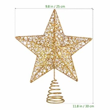 STOBOK Weihnachtsbaum Stern Topper Lichter 25cm Weihnachtsbaumspitze glitzernder baumkronen Lampe Ornament Party Dekoration - 7