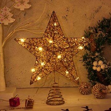 STOBOK Weihnachtsbaum Stern Topper Lichter 25cm Weihnachtsbaumspitze glitzernder baumkronen Lampe Ornament Party Dekoration - 8