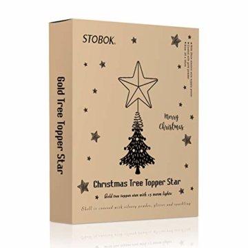 STOBOK Weihnachtsbaum Stern Topper Lichter 25cm Weihnachtsbaumspitze glitzernder baumkronen Lampe Ornament Party Dekoration - 9