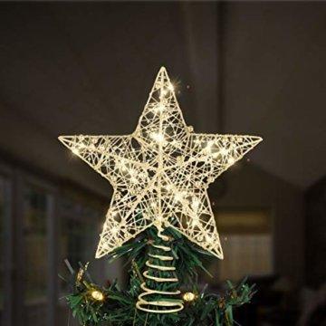 STOBOK Weihnachtsbaumspitze, Weihnachtsdekoration, Glitzer, LED-Beleuchtung, Stern (25 x 30 cm) für Party, Einkaufszentrum, Zuhause, Büro - 2