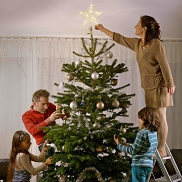 STOBOK Weihnachtsbaumspitze, Weihnachtsdekoration, Glitzer, LED-Beleuchtung, Stern (25 x 30 cm) für Party, Einkaufszentrum, Zuhause, Büro - 3