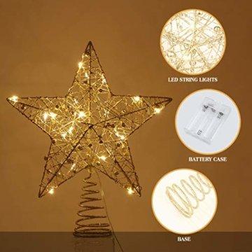 STOBOK Weihnachtsbaumspitze, Weihnachtsdekoration, Glitzer, LED-Beleuchtung, Stern (25 x 30 cm) für Party, Einkaufszentrum, Zuhause, Büro - 5