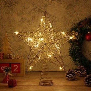 STOBOK Weihnachtsbaumspitze, Weihnachtsdekoration, Glitzer, LED-Beleuchtung, Stern (25 x 30 cm) für Party, Einkaufszentrum, Zuhause, Büro - 6