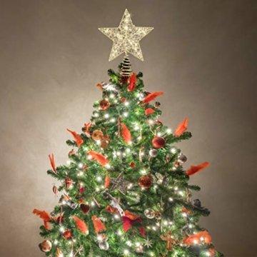 STOBOK Weihnachtsbaumspitze, Weihnachtsdekoration, Glitzer, LED-Beleuchtung, Stern (25 x 30 cm) für Party, Einkaufszentrum, Zuhause, Büro - 7