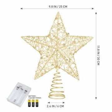 STOBOK Weihnachtsbaumspitze, Weihnachtsdekoration, Glitzer, LED-Beleuchtung, Stern (25 x 30 cm) für Party, Einkaufszentrum, Zuhause, Büro - 9