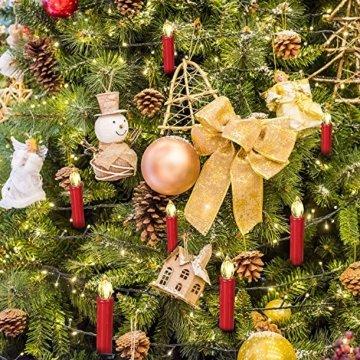 SunJas 20er Rot Weinachten Kerzen Weihnachtsbeleuchtung Weihnachtskerzen mit Fernbedienung kabellos Weihnachtsbaumkerzen 10/20/30/40er - 2