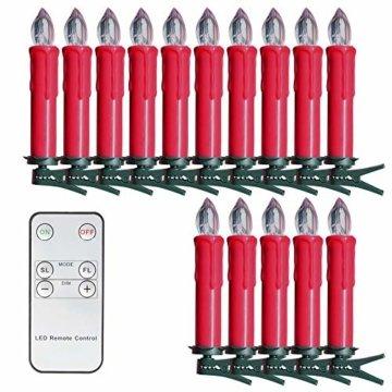 SunJas 20er Rot Weinachten Kerzen Weihnachtsbeleuchtung Weihnachtskerzen mit Fernbedienung kabellos Weihnachtsbaumkerzen 10/20/30/40er - 3