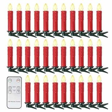 SunJas 20er Rot Weinachten Kerzen Weihnachtsbeleuchtung Weihnachtskerzen mit Fernbedienung kabellos Weihnachtsbaumkerzen 10/20/30/40er - 1