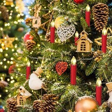 SunJas 20er Rot Weinachten Kerzen Weihnachtsbeleuchtung Weihnachtskerzen mit Fernbedienung kabellos Weihnachtsbaumkerzen 10/20/30/40er - 6