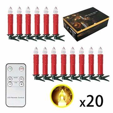 SunJas 20er Rot Weinachten Kerzen Weihnachtsbeleuchtung Weihnachtskerzen mit Fernbedienung kabellos Weihnachtsbaumkerzen 10/20/30/40er - 7